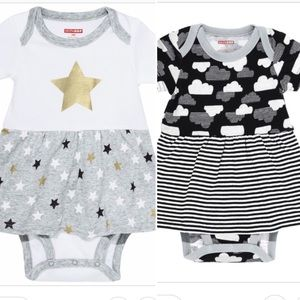 Two 3mo skirted onesies